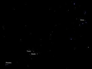 Constelaçãoes de Orion, Touro e Pleides fotografadas