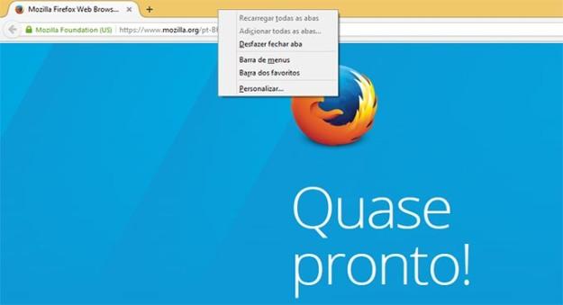 Firefox-ativar menus